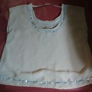 Decree womens top beaded and embroidered